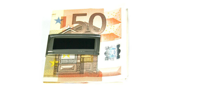 Pinza de billetes plateada con detalle en laca negra - comprar online precio 22€ euros