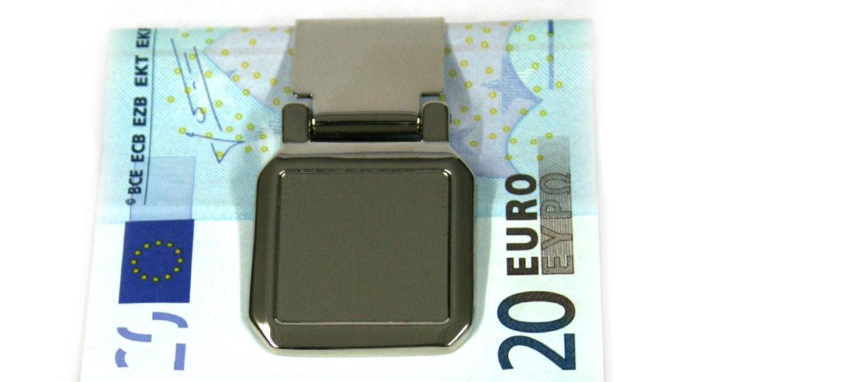 Pinza  billetes plateada brillo cuadrada - comprar online Precio 25€ euros