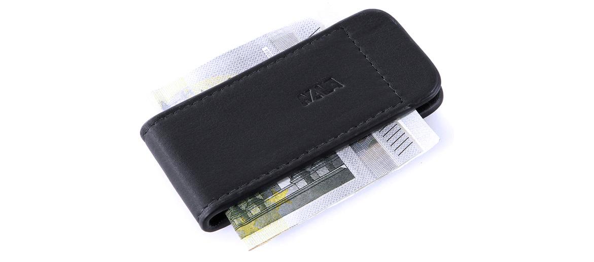 Pinza para billetes de piel color negro - comprar online precio 22€ euros