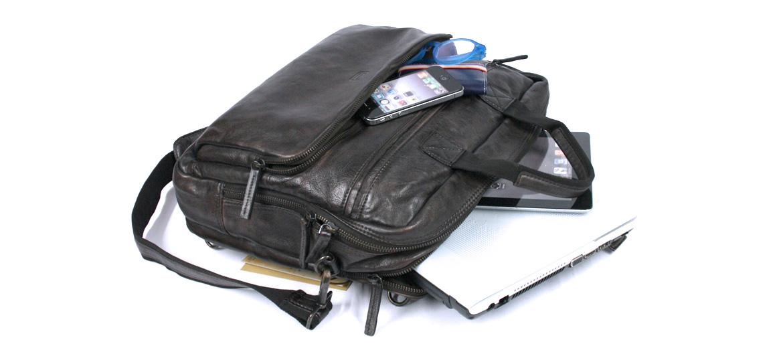 Porta documentos dos convertible en mochila de piel envejecida marrón - comprar online precio 205€ euros