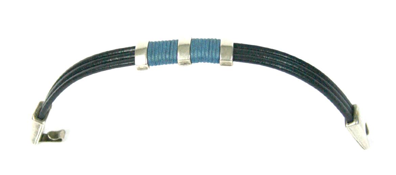 Pulsera de cuero azul con detalle en azul claro - comprar online precio 24€ euros