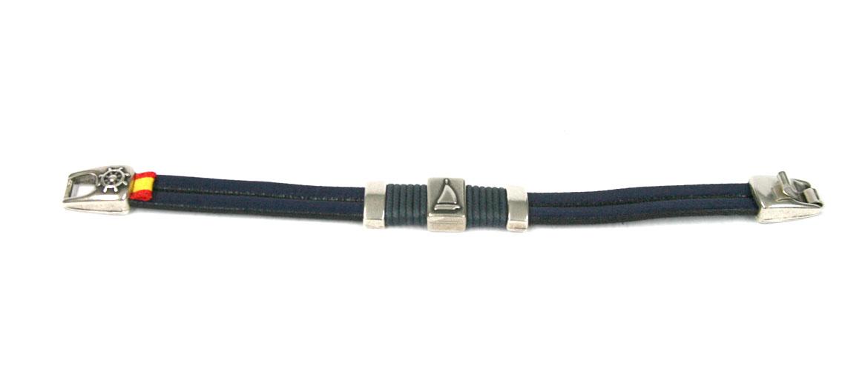 Pulsera de cuero azul, con detalle marinero en metal - comprar online precio 24€ euros