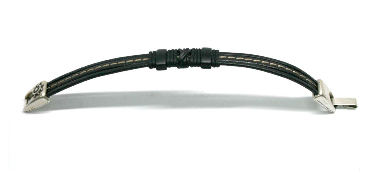 Pulsera con nudo negro y pespunte blanco - comprar online precio 24€ euros