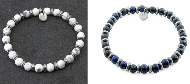 Pulsera elástica compuesta por piedras naturales y rondeles de plata - comprar online precio 39€ euros