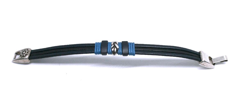 Pulsera de cuero azul con detalle de nudo marinero - comprar online precio 24€ euros