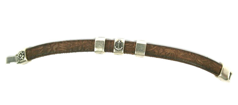 Pulsera de cuero color marrón con motivo marinero - comprar online precio 24€ euros