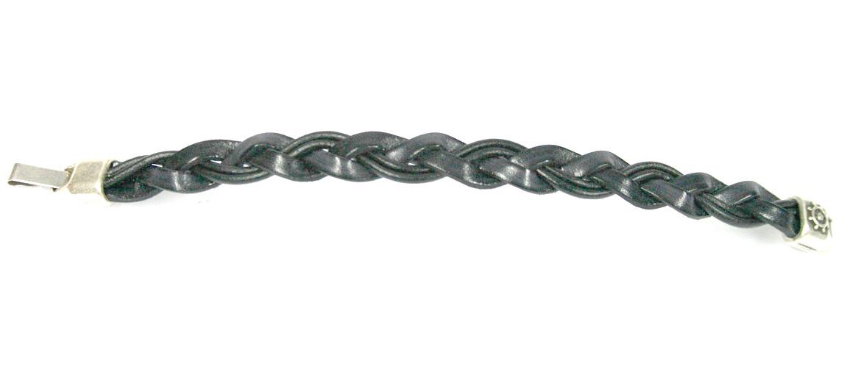 Pulsera de cuero color negro trenzado cierre metal - comprar online precio 24€ euros