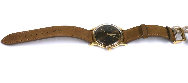 Reloj de pulsera dorado esfera marrón con correa de piel marca Melbourne - comprar online precio 119€ euros