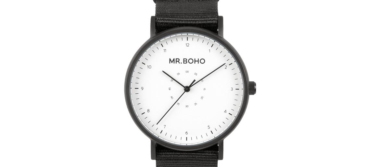 Reloj  pulsera de acero y correa de algodón marca Mr. Boho - comprar online precio 79€ euros