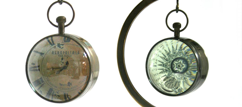 Reloj réplica de modelo náutico antiguo con peana - comprar online precio 125€ euros
