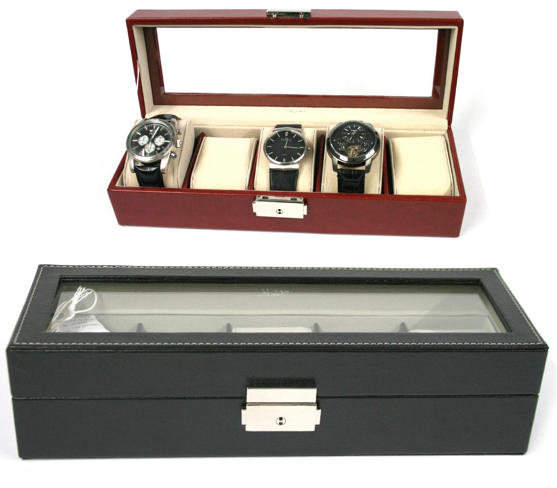 Relojero, caja de 5 relojes con tapa de cristal en color marrón o negro - comprar online precio 42€ euros