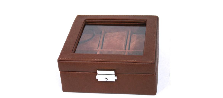 Relojero caja para guardar relojes cuadrada de símil piel color marrón - comprar online precio 42€ euros