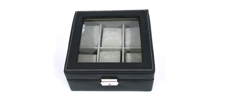 Relojero caja para guardar relojes cuadrada de polipiel - comprar online precio 42€ euros