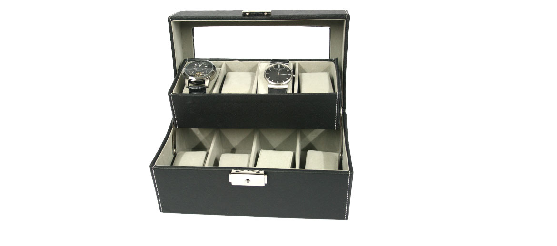 Relojero dos pisos de polipiel negra para ocho relojes - comprar online precio 50€ euros