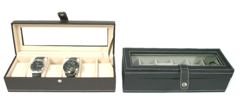 Relojero, caja de 6 relojes  con tapa de cristal - comprar online precio 33€ euros