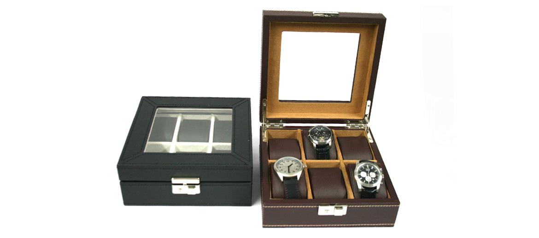 Relojero caja para guardar relojes cuadrada de polipiel - comprar online precio 54€ euros