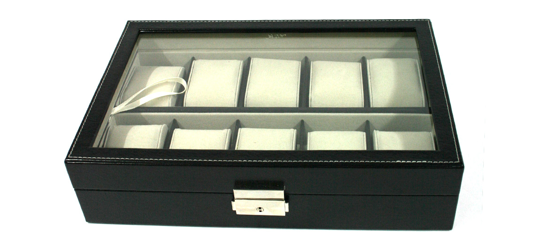 Relojero caja para guardar 20 relojes en polipiel marrón o negra - comprar online precio 65€ euros