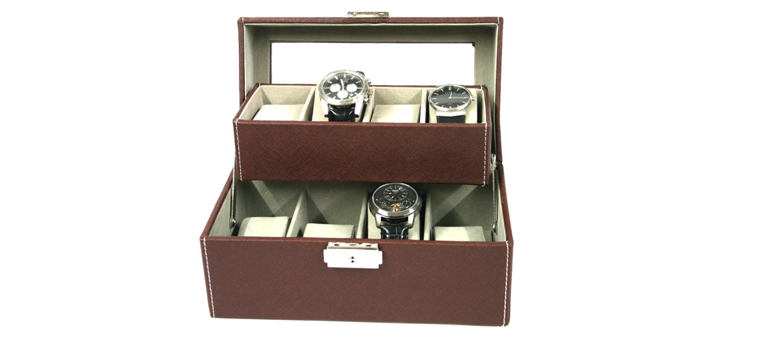 Relojero dos pisos de polipiel marrón para ocho relojes - comprar online precio 50€ euros