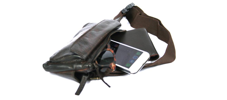 Riñonera de viaje en piel marrón envejecida - comprar online precio 65€ euros
