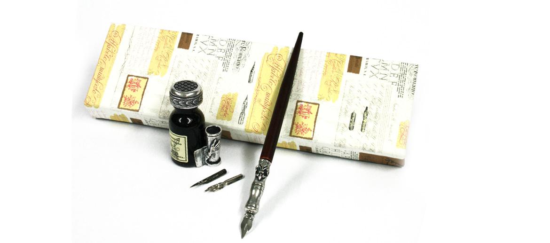Set de escritura tintero y pluma de estaño y  madera - comprar online precio 30€ euros