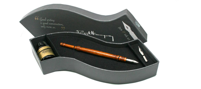 Set de escritura tintero y pluma de madera - comprar online precio 25€ euros