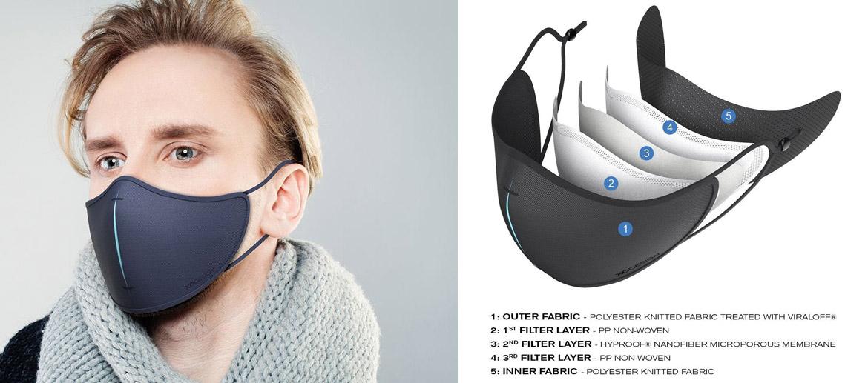 Set de mascarilla de protección reutilizable con filtros y estuche para guardarla - comprar online precio 19€ euros