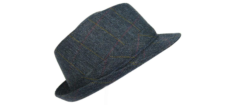 Sombrero de ala corta color azul a cuadros  - comprar online precio 48€ euros