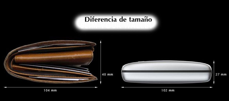 Tarjetero billetero monedero rígido de aluminio y  piel - comprar online precio 59€ euros