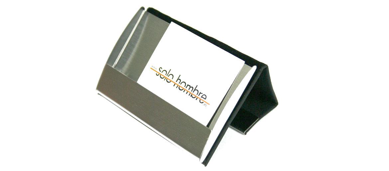 Tarjetero de piel y metal  para tarjetas de visita o crédito - comprar online precio 30€ euros