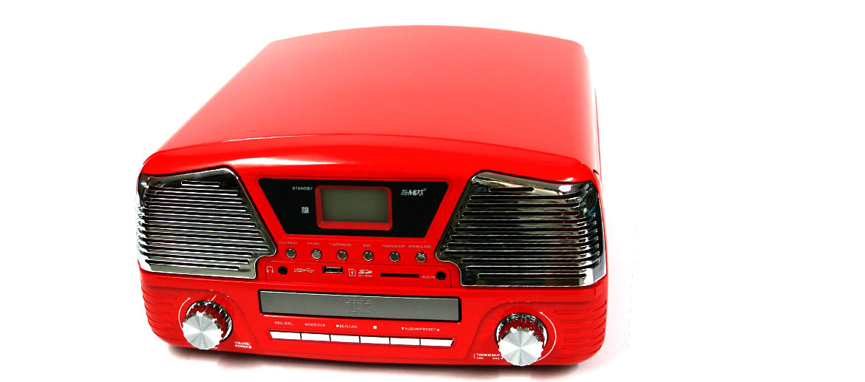 Tocadiscos reproductor de vinilos retro color rojo - comprar online precio 249€ euros