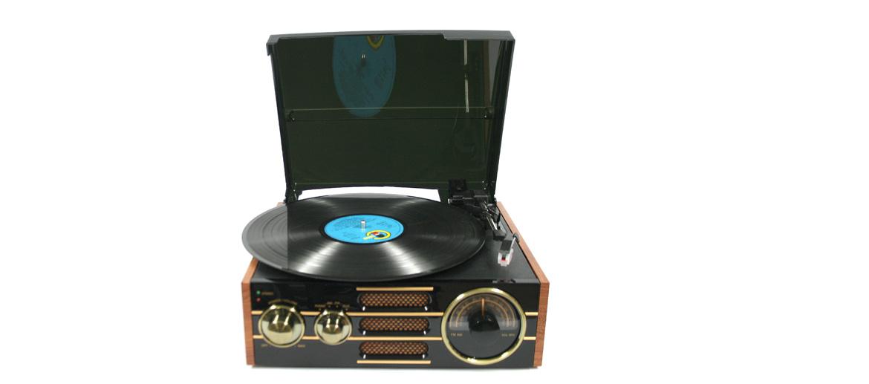 Tocadiscos reproductor de vinilos retro con radio - comprar online precio 165€ euros