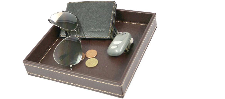 Vacía-bolsillos cuadrado de polipiel marrón - comprar online precio 20€euros
