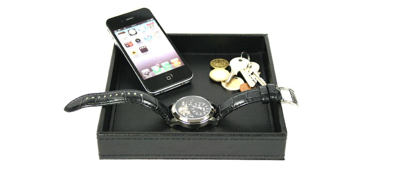 Vacía-bolsillos cuadrado de polipiel negro - comprar online precio 20€ euros