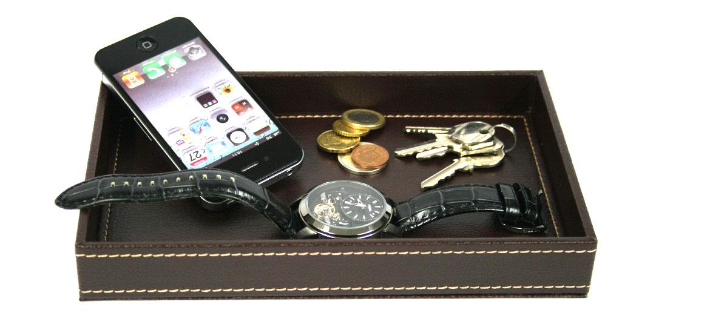 Vacía bolsillos rectangular en polipiel marrón -comprar online precio 20€ euros