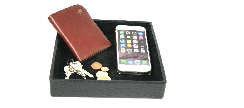 Vacía bolsillos cuadrado polipiel color negro - Comprar online Precio 20€ euros