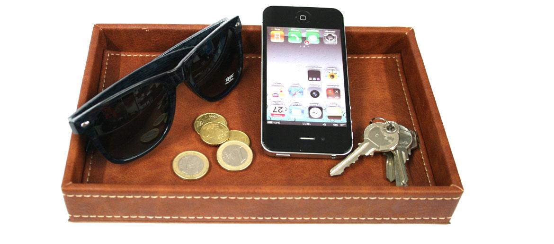 Vacía bolsillos pequeño rectangular en polipiel beige - comprar online precio 20€ euros
