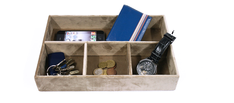 Vacía bolsillos rectangular con compartimentos color beige - comprar online precio 29€ euros