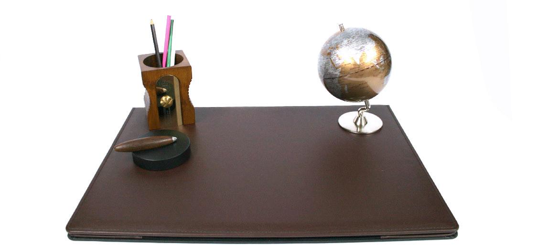 Vade carpeta sobremesa con apertura de polipiel marrón - comprar online precio 98€ euros