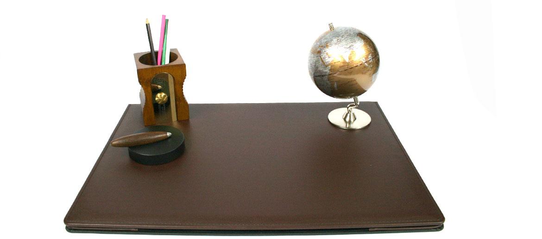 Vade carpeta sobremesa con apertura de polipiel marrón - comprar online precio 93€ euros