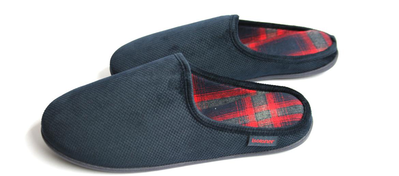 Zapatillas de estar por casa destalonadas color azul interior cuadro escoces - comprar online precio 30€ euros