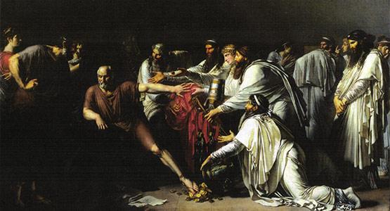 Hipócrates rechazando los regalos de Artajerjes, en un cuadro de Girodet-Trioson