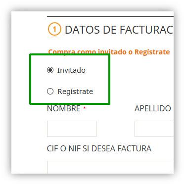 Comprar como invitado o registrarse