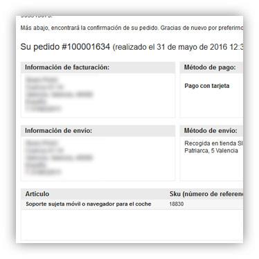 Mail de confirmación de pedido