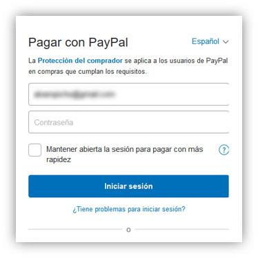 Página de PayPal
